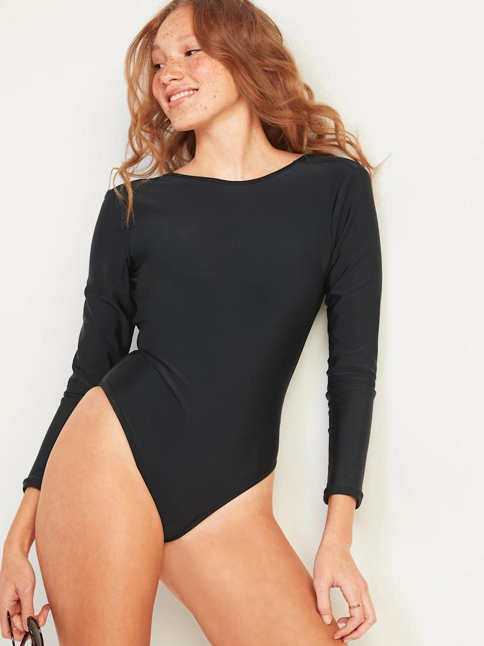 <p>If you're looking for something a little more covered, go with this <span>Old Navy Rashguard Long-Sleeve One-Piece Swimsuit</span> ($40, originally $50). It's also a great option if you want to play in the waves.</p>