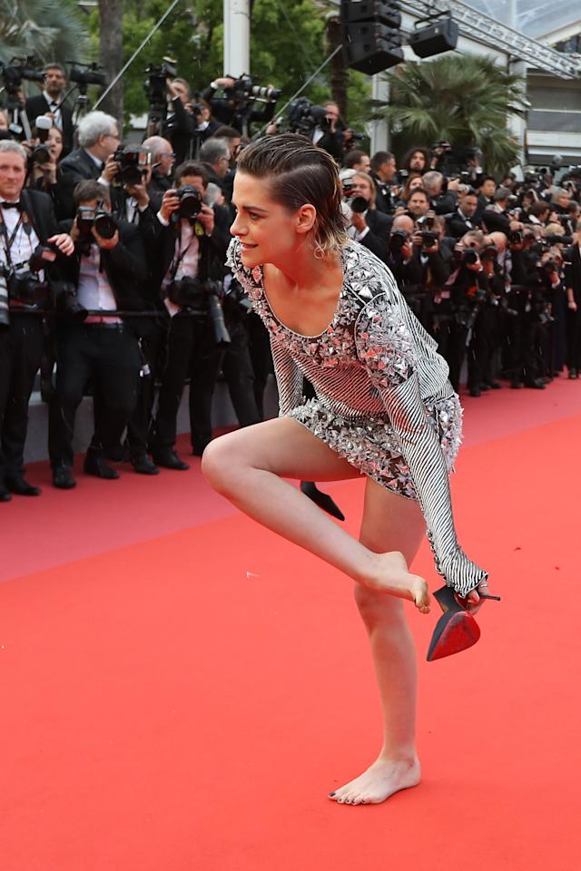 <p>Kristen Stewart decided to take her shoes off on the red carpet at the 2018 Cannes Film Festival.<br /> Source: Getty </p>