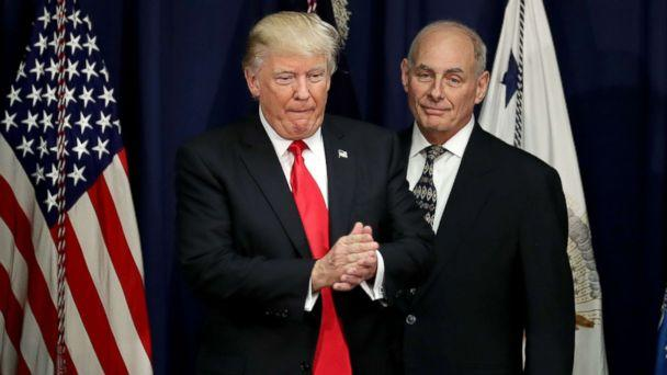 PHOTO: President Donald Trump is joined by Homeland Security Secretary John Kelly (R) during a visit to the Department of Homeland Security, Jan. 25, 2017 in Washington, D.C. (Chip Somodevilla/Getty Images, FILE)