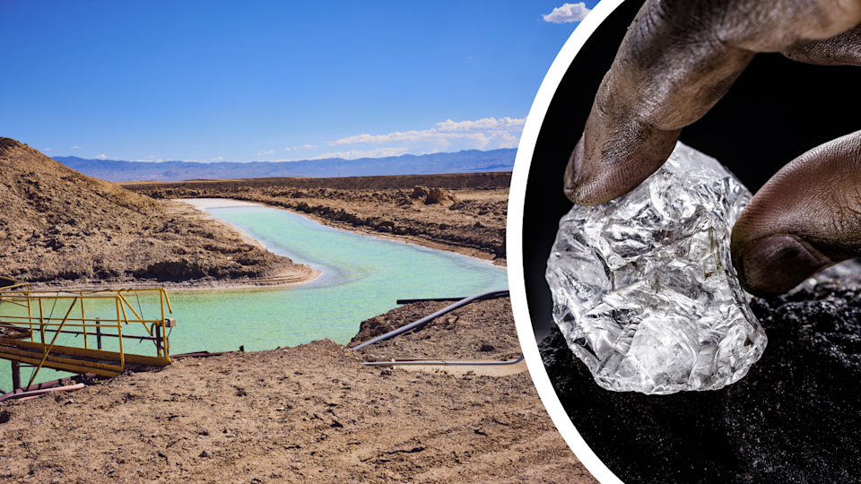 A lithium mining operation and a hand holding a piece of lepidolite which lithium is extracted from