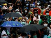 Pro-democracy protesters attend an anti-government demonstration, in Bangkok