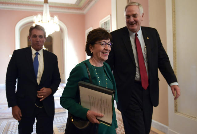 Sen. Susan Collins, R-Maine, with Sen. Jeff Flake, R-Ariz., left, and Sen. Luther Strange R-Ala. (Photo: Susan Walsh/AP)