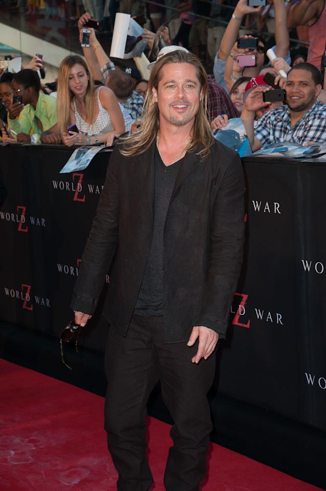 "NEW YORK, NY - JUNE 17: Brad Pitt attends ""World War Z"" New York Premiere on June 17, 2013 in New York City. (Photo by Dave Kotinsky/Getty Images)"