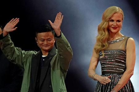 Jack Ma, Chairman of Alibaba Group, and actor Nicole Kidman attend a show during Alibaba Group's 11.11 Singles' Day global shopping festival in Shanghai