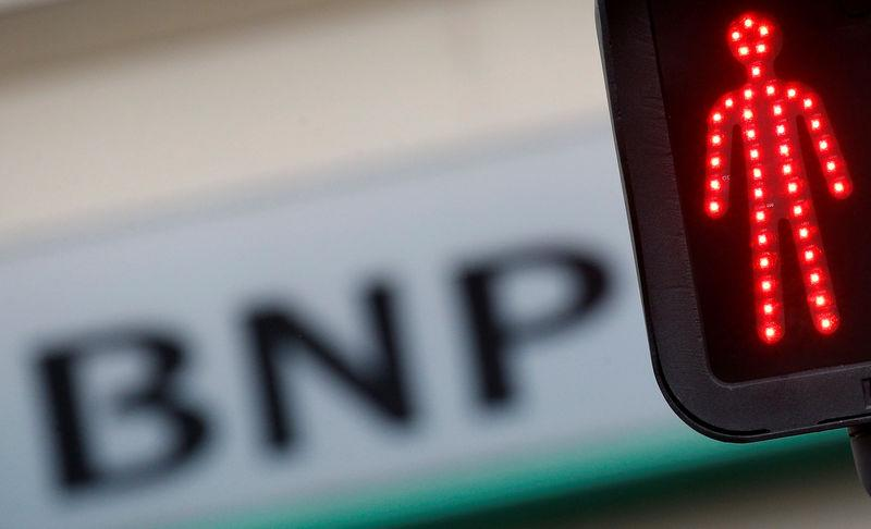 A BNP Paribas logo is seen outside a bank office in Nantes