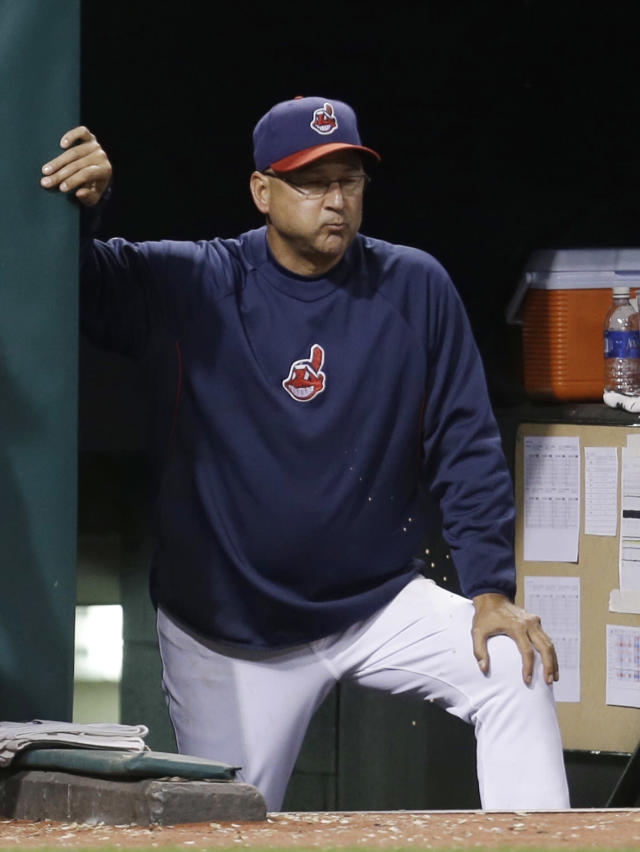 Cleveland Indians manager Terry Francona watches in the ninth inning of a baseball game against the Minnesota Twins, Friday, Aug. 23, 2013, in Cleveland. The Twins won 5-1. (AP Photo/Tony Dejak)