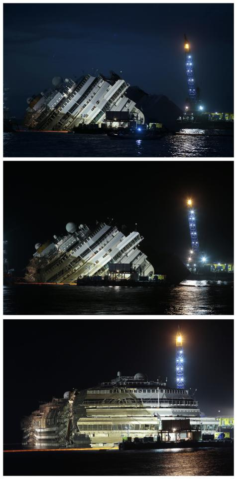 "The capsized cruise liner Costa Concordia is shown in this combination picture taken during and at the end (bottom) of the ""parbuckling"" operation outside Giglio harbour September 17, 2013. Salvage crews completed raising the wreck of the Costa Concordia in the early hours of Tuesday morning after a 19-hour-long operation on the Italian island of Giglio where the huge cruise liner capsized in January last year. REUTERS/Tony Gentile (ITALY - Tags: DISASTER MARITIME TPX IMAGES OF THE DAY)"