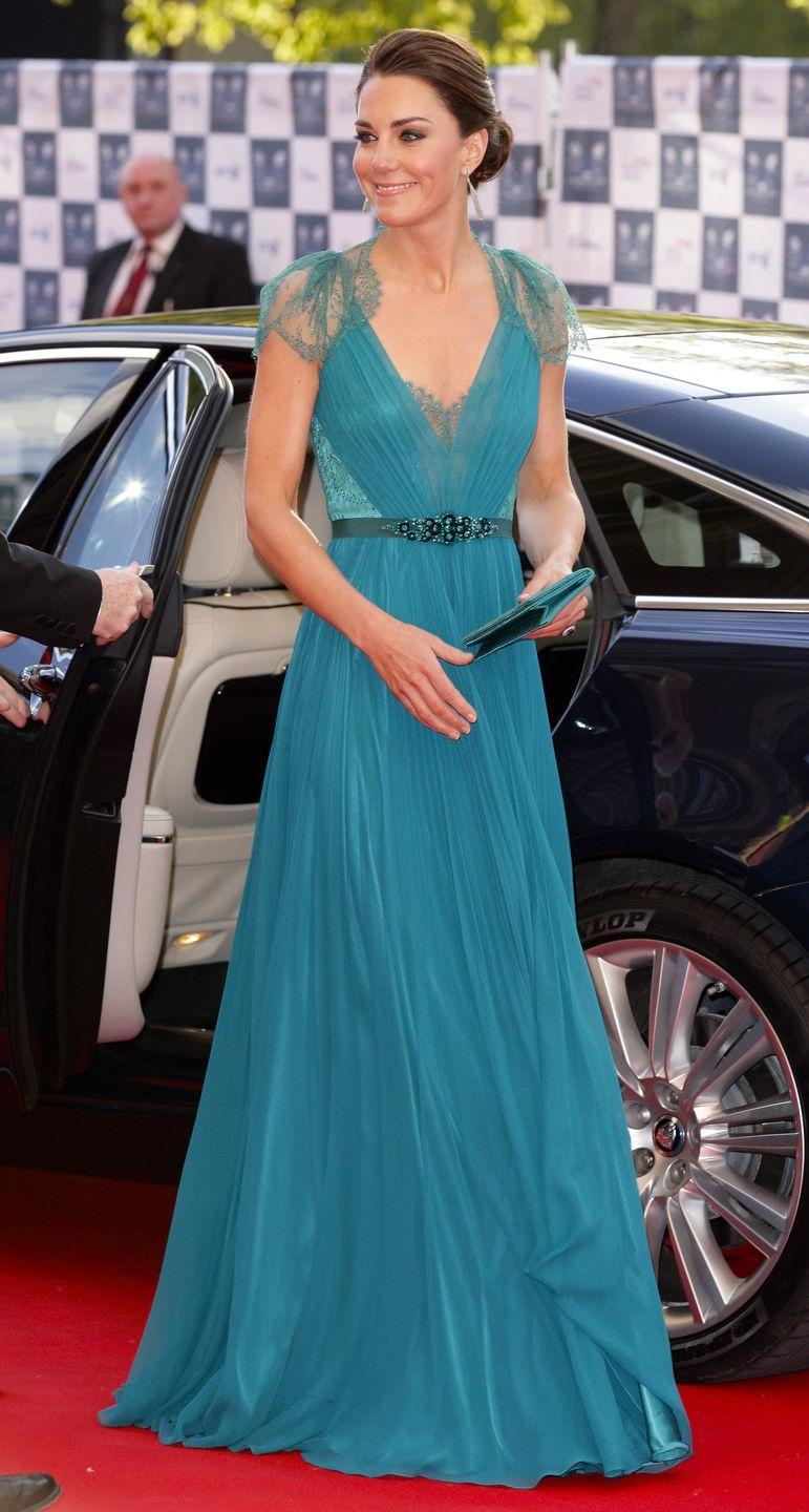 <p>Kate Middleton attended an event at Royal Albert Hall in 2012, wearing a vibrant chiffon and lace Jenny Packham gown. </p>