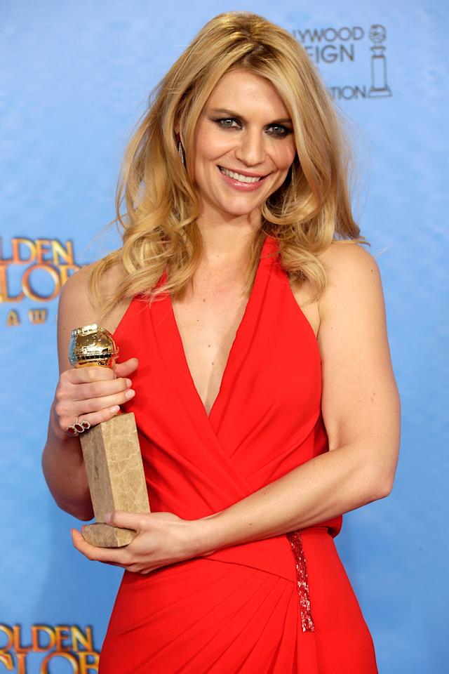 Claire Danes poses in the press room at the 70th Annual Golden Globe Awards held at The Beverly Hilton Hotel on January 13, 2013 in Beverly Hills, California.  (Photo by Jeff Vespa/WireImage)