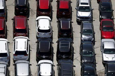 Cars are seen in a parking lot in Palm Springs