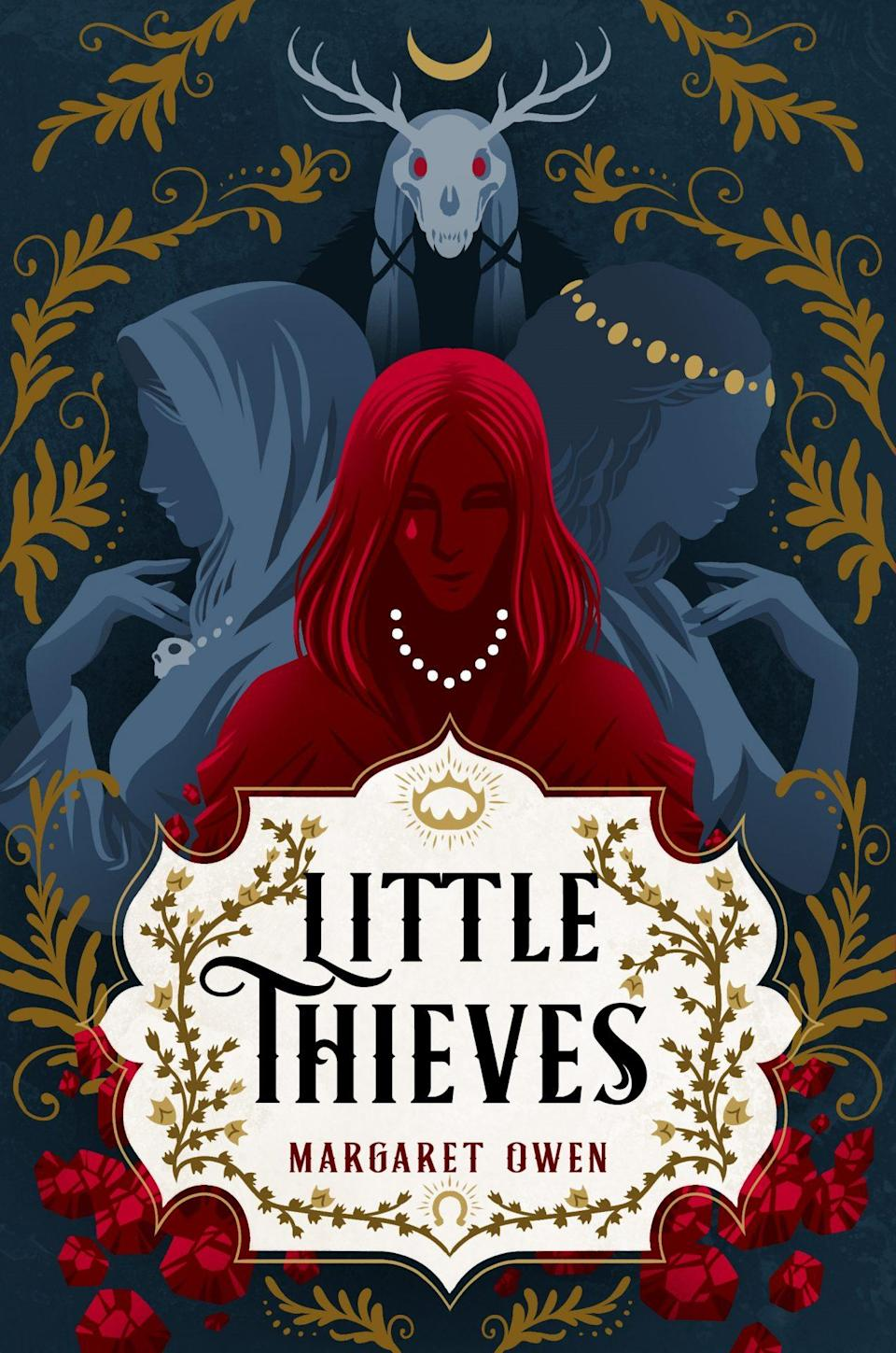 The Little Thieves cover featuring three women in red and blue silhouettes