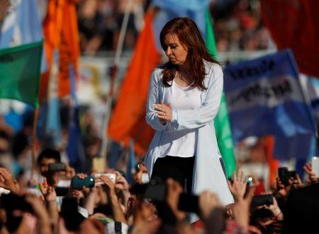 Cristina Fernandez de Kirchner, former Argentine President and candidate for the Senate in the mid-term elections, speaks during a rally in Buenos Aires, Argentina October 16, 2017. REUTERS/Martin Acosta