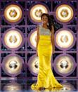 <p>Caressa Cameron from Virginia wore a show-stopping yellow and crystal gown that she topped off with chandelier earrings.</p>