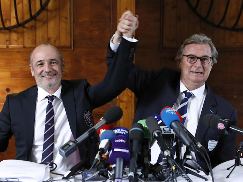 Racing 92 president Jacky Lorenzetti (R) and Stade Francais president Thomas Savare (Getty)