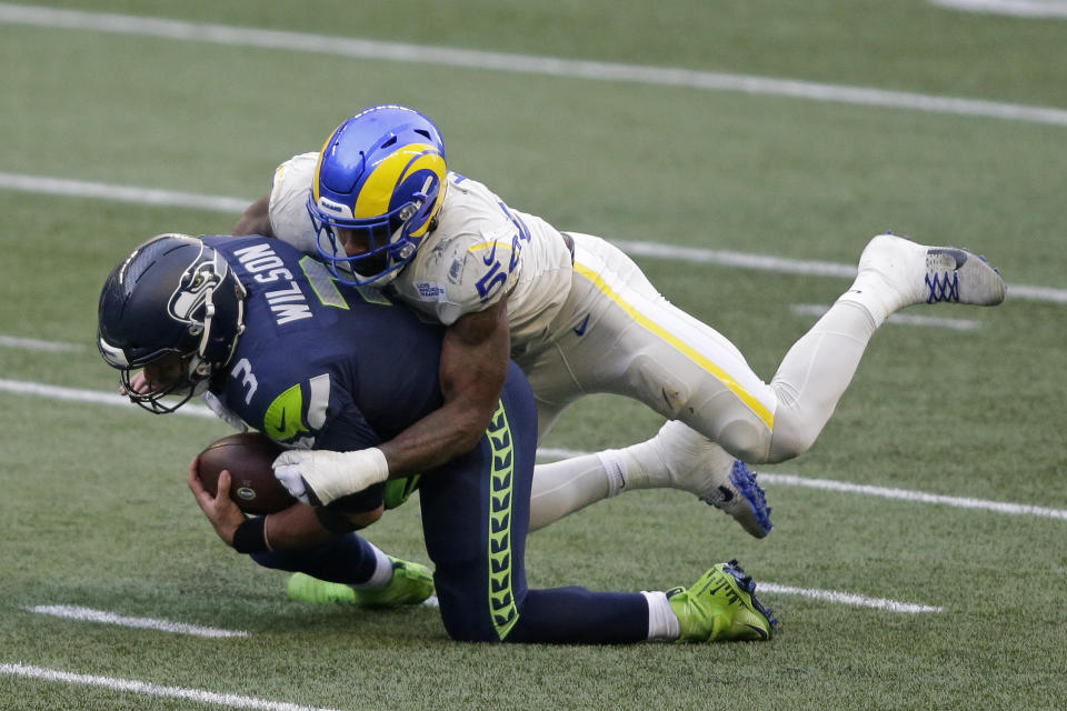 No quarterback has been sacked more times than Seattle Seahawks QB Russell Wilson since he entered the NFL. (AP Photo/Scott Eklund)