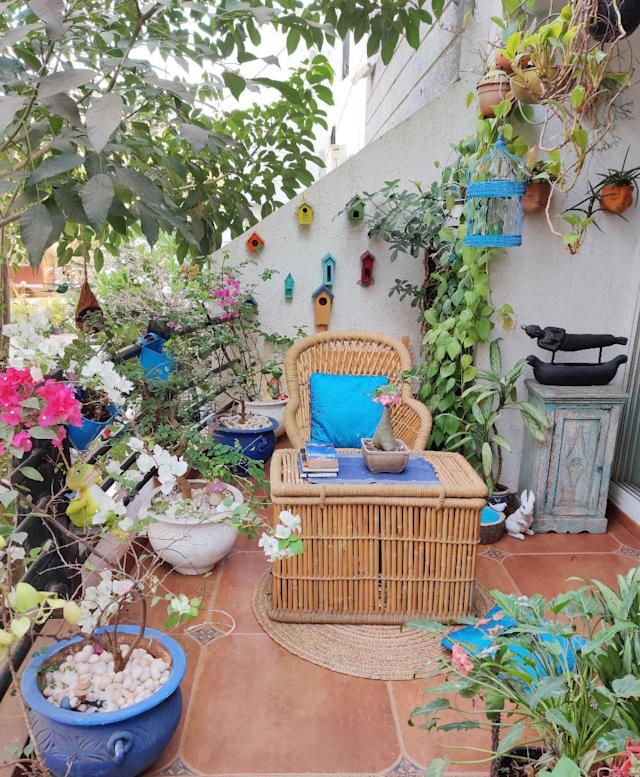 A spacious balcony in the master bedroom is where Kajal puts her gardening skills to good use.