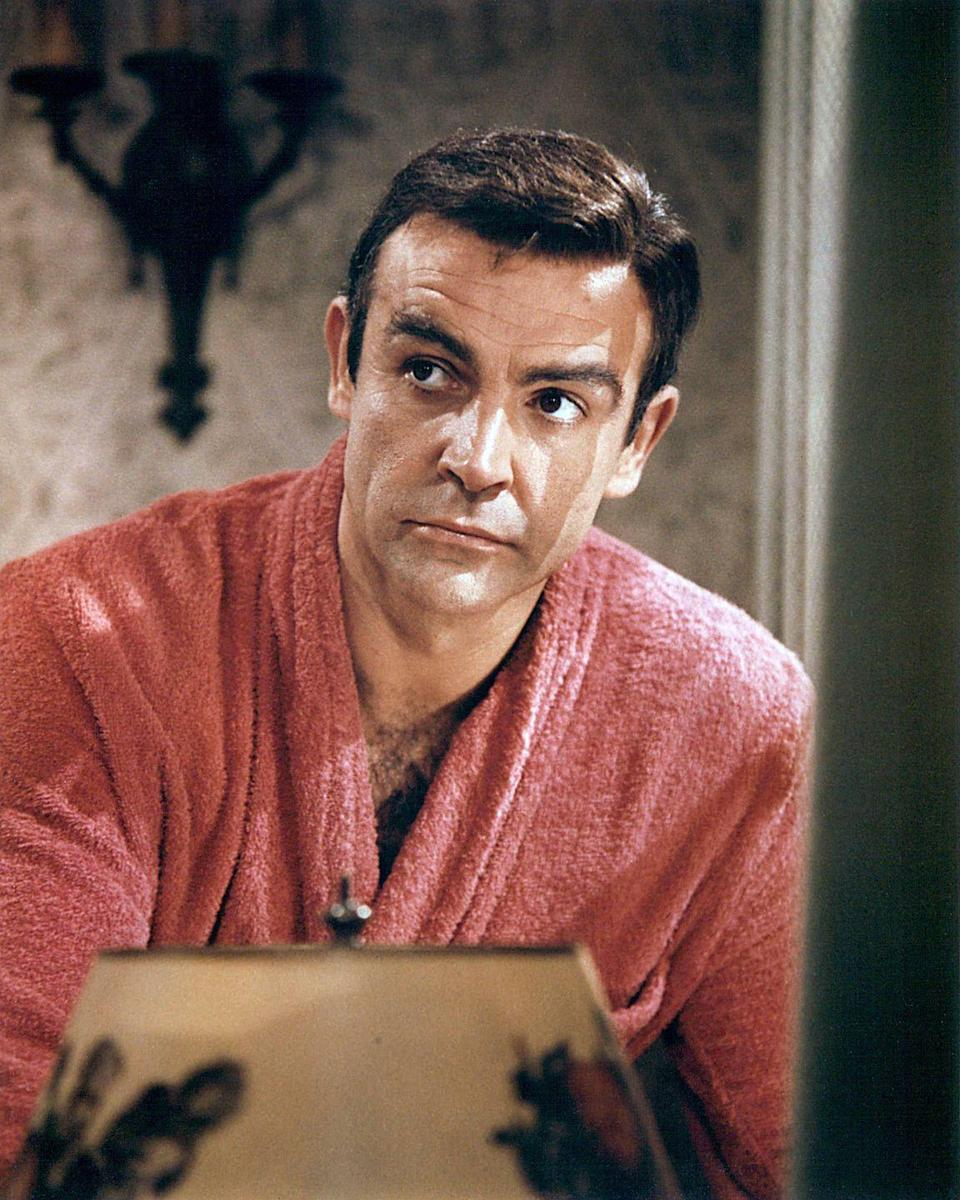 <p>Connery wearing a pink dressing gown in a publicity still issued for, A Fine Madness, 1966. The comedy, adapted from the novel by Elliott Baker and directed by Irvin Kershner, starred Connery as 'Samson Shillitoe.'</p>