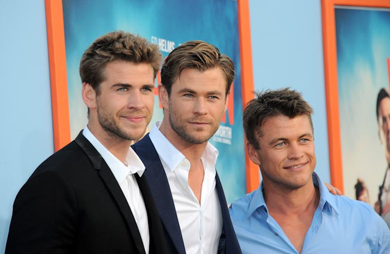 """Actors/brothers Liam Hemsworth, Luke Hemsworth and Chris Hemsworth arrive for the Premiere Of Warner Bros. Pictures' """"Vacation"""""""