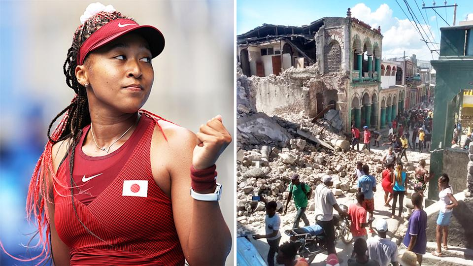 Naomi Osaka (pictured) celebrating at the Olympics and (pictured right) Haiti after an earthquake struck the nation.