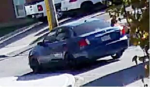 Police released this image from security camera footage showing what they say is the getaway car used by suspects in a fatal shooting.  (Calgary Police Service  - image credit)