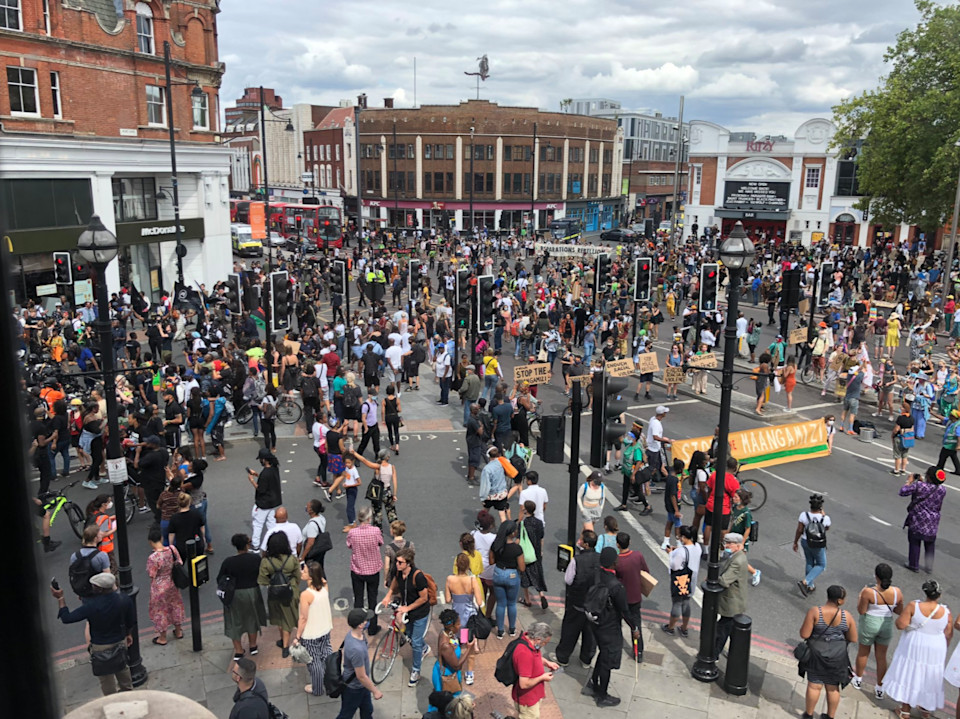 Protesters gather in Windrush Square (Wayne Chandai/Twitter)