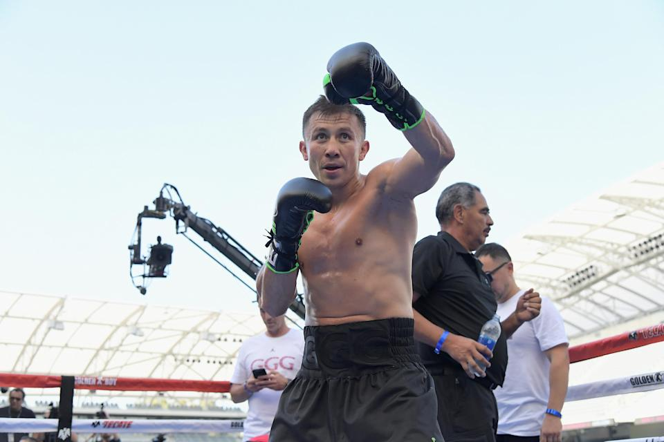 Gennady Golovkin, shown here on Aug. 26, 2018, at Banc of California Stadium in Los Angeles, is 8 years older than his Sept. 15 opponent, Canelo Alvarez. (Getty Images)