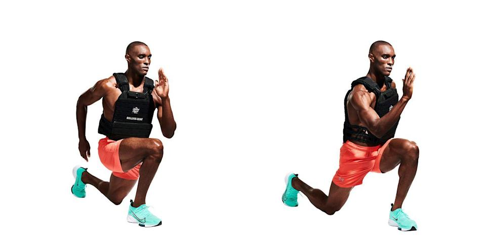 <p>The weight of the vest combined with forward motion adds extra stimulus. Lunge as far as you can with your right leg, bending your back knee so it almost brushes the floor (<strong>A</strong>). Push through your heel and step into the next lunge (<strong>B</strong>).</p>