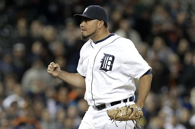 Detroit Tigers relief pitcher Joaquin Benoit celebrates the final out against the Seattle Mariners in the ninth inning of a baseball game in Detroit, Monday, Sept. 16, 2013. Detroit won 4-2. (AP Photo/Paul Sancya)