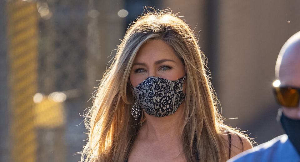 Jennifer Aniston spotted wearing Wolford's Luxury Lace Mask outside of