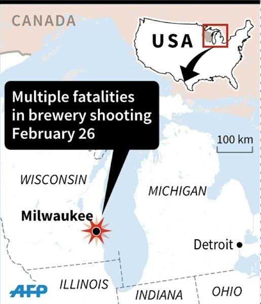Map locating Milwaukee in Wisconsin, the US, the location of a deadly brewery shooting February 26, 2020