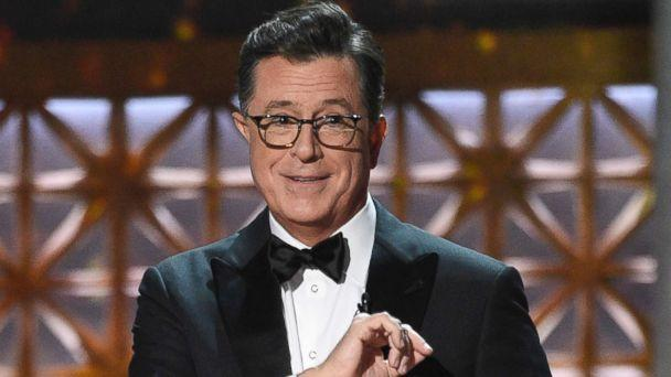 PHOTO: Host Stephen Colbert speaks at the 69th Primetime Emmy Awards on Sept. 17, 2017, at the Microsoft Theater in Los Angeles. (Chris Pizzello/AP)