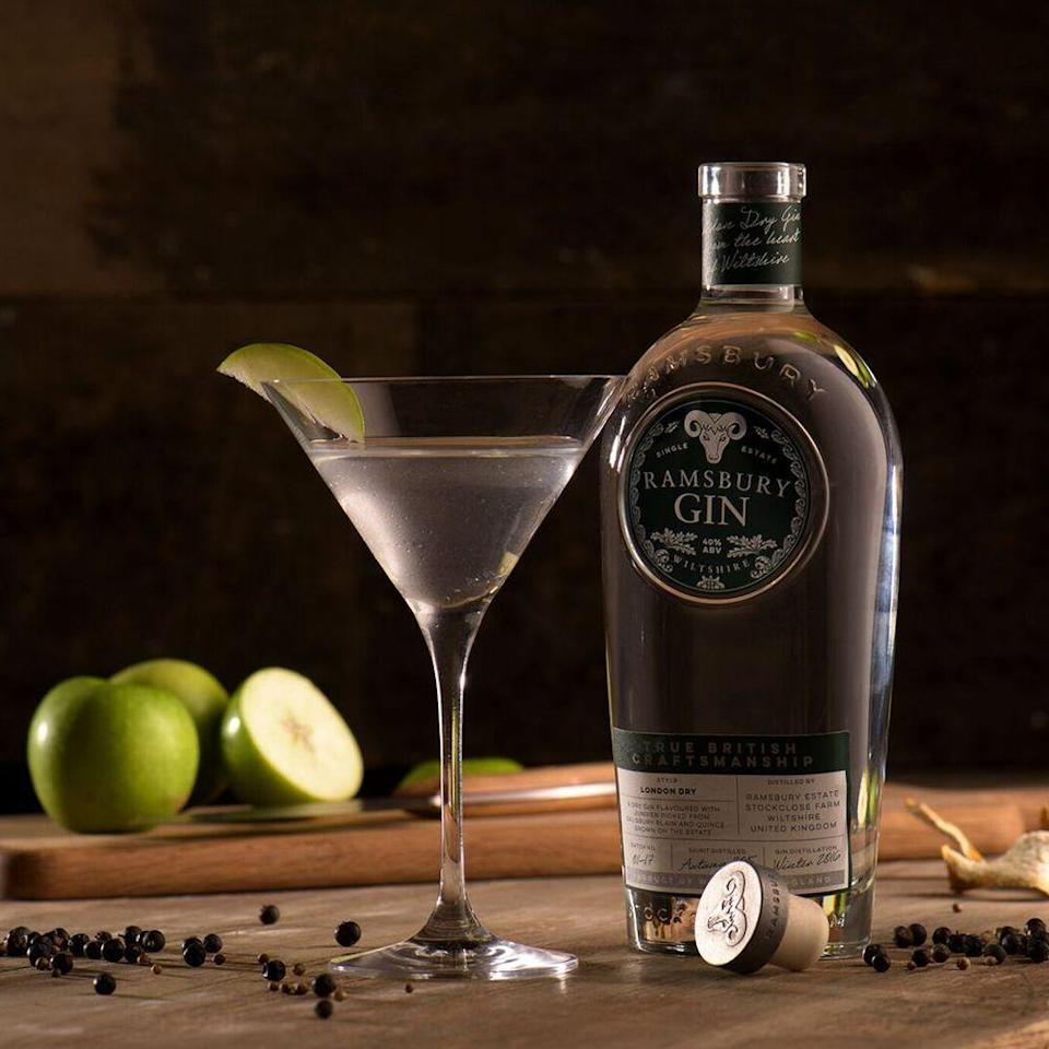 """<p><strong>What you need:</strong></p><p>50ml Ramsbury Gin</p><p>15ml Dry Vermouth </p><p>Green apple</p><p><strong>Method: </strong></p><p>Pour <a href=""""https://www.amazon.co.uk/Ramsbury-Single-Estate-Gin-70cl/dp/B075WJC8BR/ref=sr_1_1_a_it?ie=UTF8&qid=1523970357&sr=8-1&keywords=ramsbury+gin"""" rel=""""nofollow noopener"""" target=""""_blank"""" data-ylk=""""slk:Ramsbury single estate gin"""" class=""""link rapid-noclick-resp""""><strong>Ramsbury single estate gin</strong></a> and dry vermouth into a cocktail shaker with ice. Stir well, then straining into a chilled martini glass. Garnish with a thin slice of fresh green apple.</p>"""