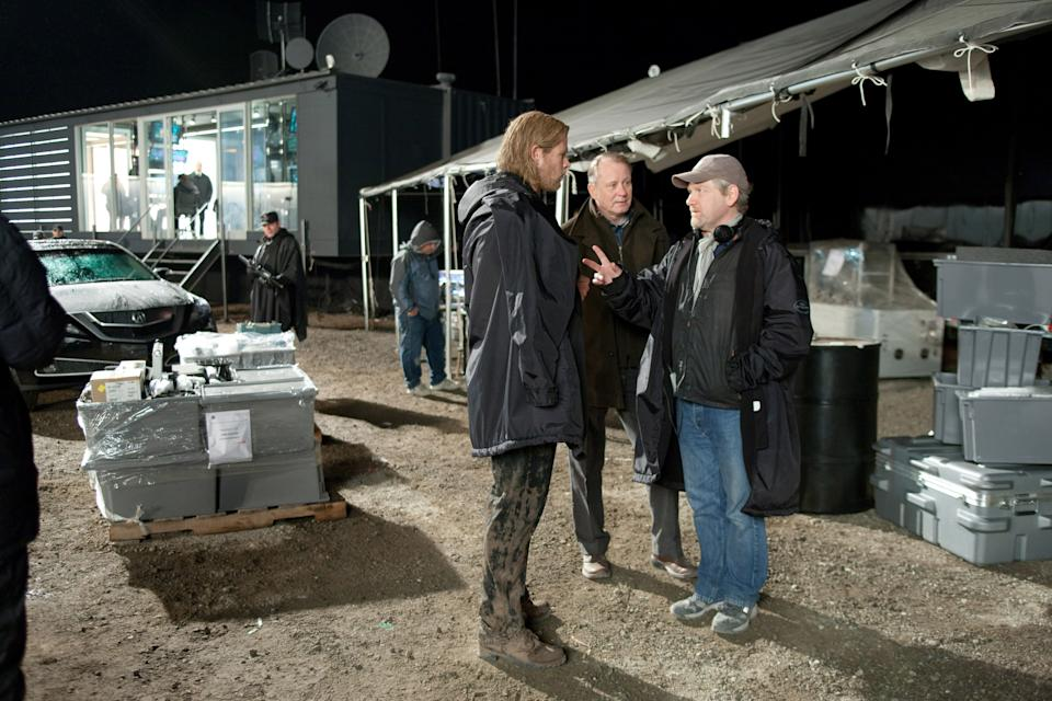 Chris Hemsworth, Stellan Skarsgard and Kenneth Branagh on the set of 2011's 'Thor' (Photo: Zade Rosenthal/©Paramount Pictures/Courtesy Everett Collection)