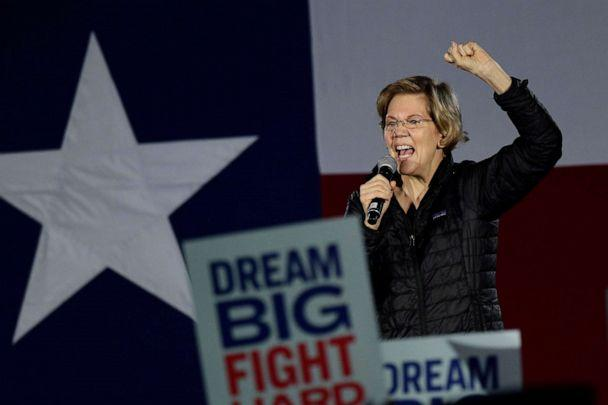 PHOTO: Democratic presidential candidate Sen. Elizabeth Warren speaks to supporters during a town hall in San Antonio, Feb. 27, 2020. (Eric Gay/AP)