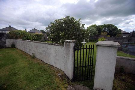 The entrance to the site of a mass grave of hundreds of children who died in the former Bons Secours home for unmarried mothers is seen in Tuam, County Galway, Ireland.  REUTERS/Stringer