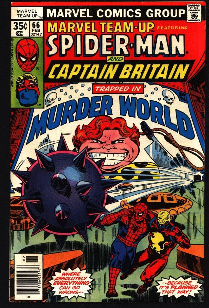 The cover to Marvel Team-Up #66, featuring Spider-Man and Captain Britain.