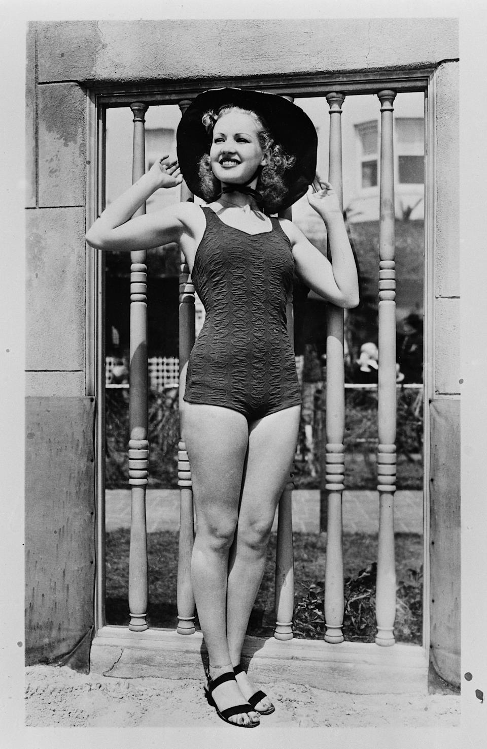 Grable poses in a swimsuit in Los Angeles, circa 1940.