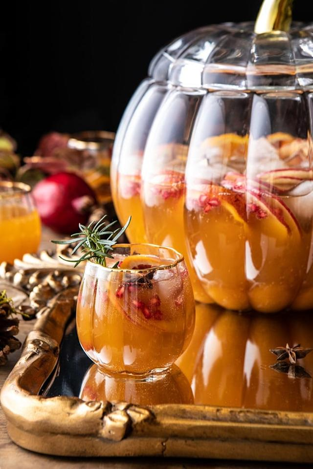 """<p>Kick off a night with family and friends with the <a href=""""http://www.halfbakedharvest.com/thanksgiving-sangria/"""" target=""""_blank"""" class=""""ga-track"""" data-ga-category=""""Related"""" data-ga-label=""""http://www.halfbakedharvest.com/thanksgiving-sangria/"""" data-ga-action=""""In-Line Links"""">Thanksgiving sangria</a>. The recipe includes white wine, cider, brandy, pumpkin butter, citrus, spices, and a splash of ginger beer. Everyone will be raving about its spicy and sweet taste.</p>"""