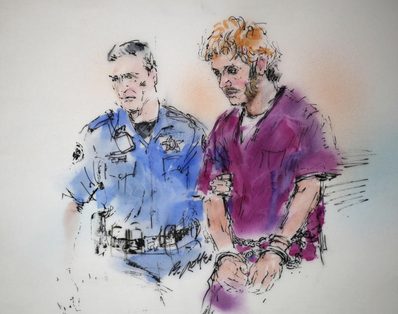 This courtroom sketch shows suspect James Holmes, right, being escorted into court by a sheriff's deputy for a motions hearing  for suspected theater shooter James Holmes in district court in Centennial, Colo., Thursday, Aug. 9, 2012. James Holmes has been charged in the shooting at the Aurora theater on July 20 that killed twelve people and injured more than 50. (AP Photo/Bill Robles, Pool) TV OUT
