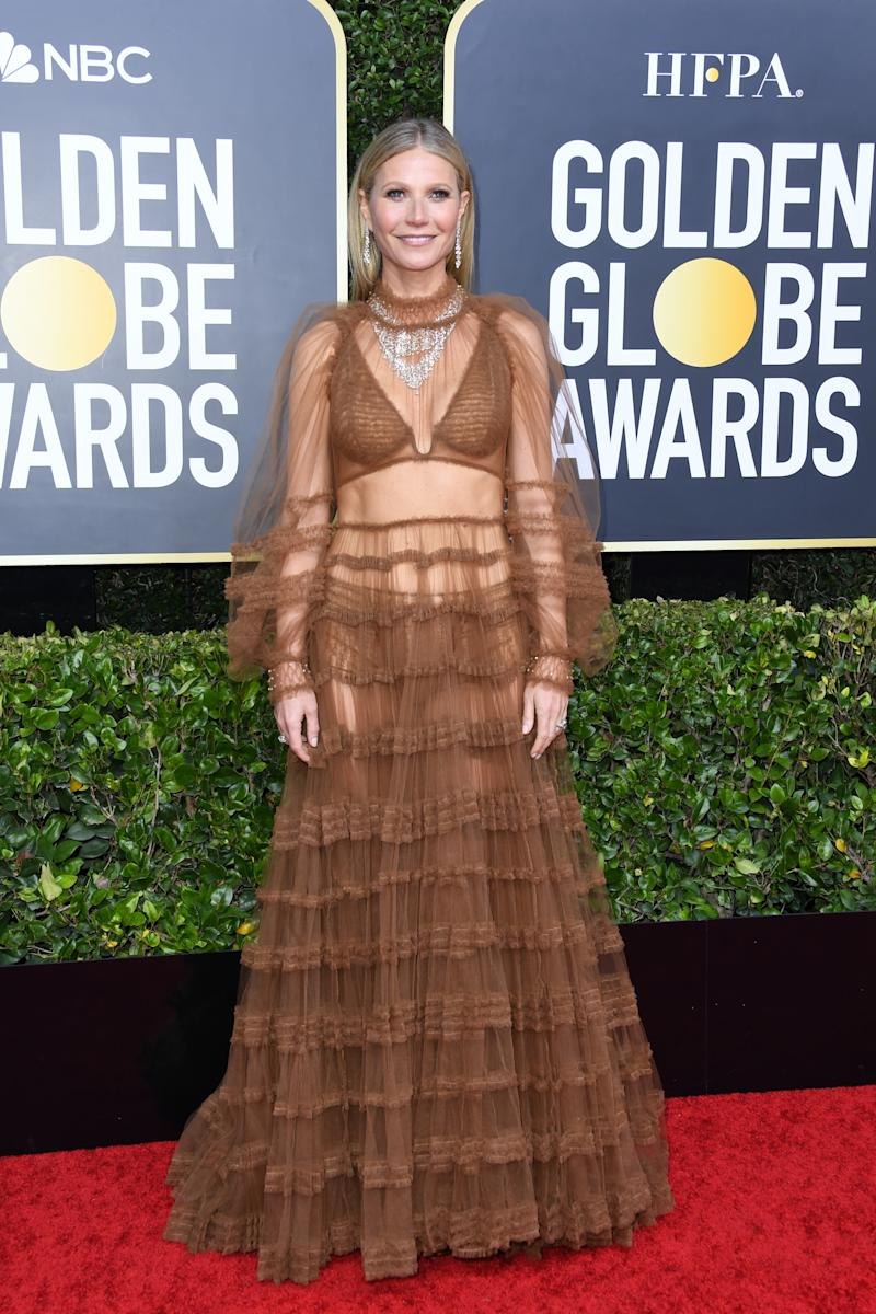 Gwyneth Paltrow in Fendi on the Golden Globes red carpet