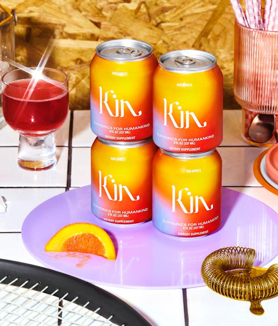 """<p><strong>The Drink:</strong> <span>Kin Spritz</span> ($79 for 16-pack)</p> <p><strong>What It Tastes Like:</strong> This <a href=""""https://www.popsugar.com/fitness/Kin-Euphorics-Kin-Spritz-46351563"""" class=""""link rapid-noclick-resp"""" rel=""""nofollow noopener"""" target=""""_blank"""" data-ylk=""""slk:canned drink"""">canned drink</a> straight-up tasted like an Aperol Spritz and I love it. The notes of hibiscus, citrus, and ginger work well as a bubbly concoction. </p> <p><strong>How it Makes You Feel:</strong> This ready-to-drink nonalcoholic drink is perfect for parties - although we're all socially distancing right now, it would be a great treat to have among the people you live with or during a video happy hour. They would also be ideal to take to a park or beach right now. Plus, you can't even deny that the can is quite Instagrammable. </p>"""