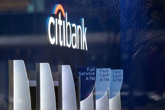 Inside of a Citi bank branch.