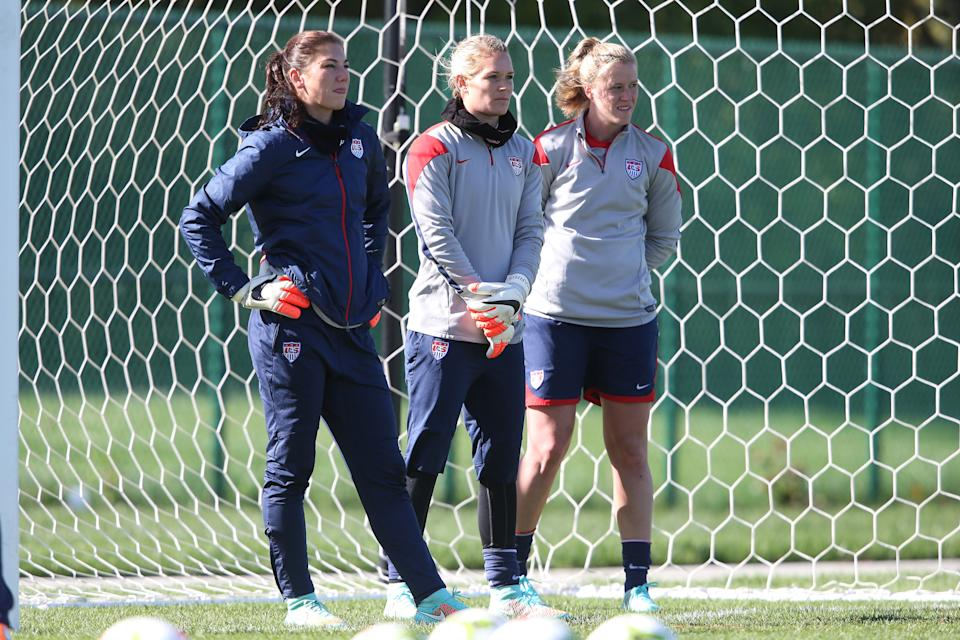 14 October 2014: U.S. goalkeepers. From left: Hope Solo, Ashlyn Harris, and Alyssa Naeher. The United States Women's National Team held a training session on the stadium field at Swope Park Soccer Village in Kansas City, Missouri in preparation for the CONCACAF Women's World Cup Qualifying Tournament for the 2015 Women's World Cup in Canada. (Photo by Andy Mead/YCJ/Icon Sportswire/Corbis via Getty Images)