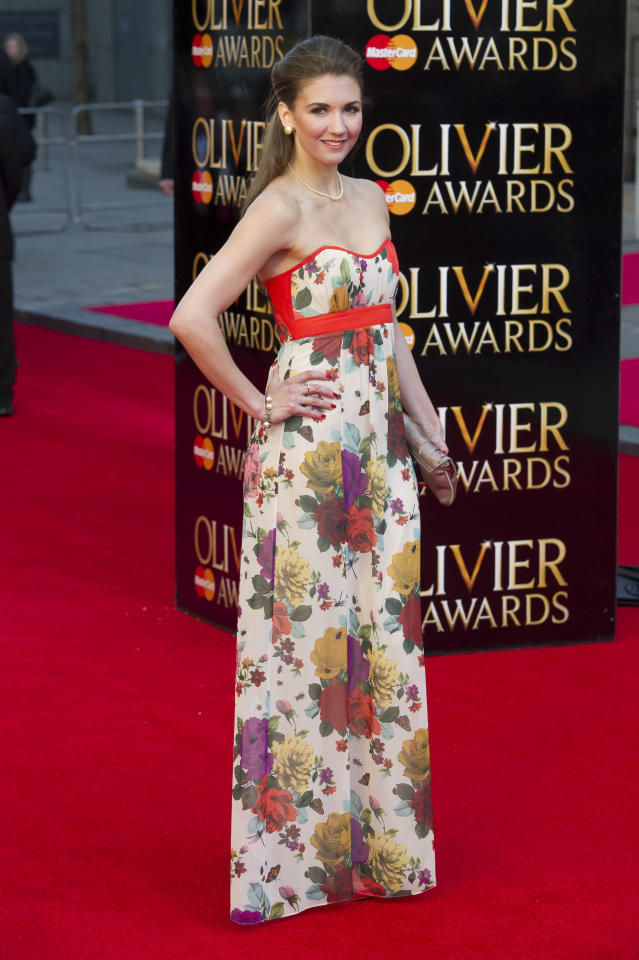British actress Summer Strallen arrives for the Olivier Awards at the Royal Opera House, London, Sunday, April 15, 2012. (AP Photo/Jonathan Short)