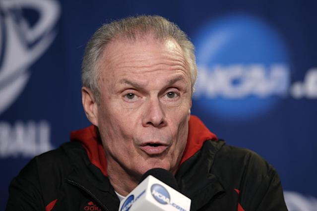 Wisconsin head coach Bo Ryan speaks during a news conference at the NCAA college basketball tournament on Friday, March 28, 2014, in Anaheim, Calif. Wisconsin plays Arizona in a regional final on Saturday. (AP Photo/Jae C. Hong)