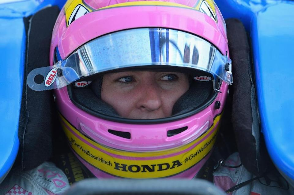 The only woman in the 100th running of the Indianapolis 500, is Britain's Pippa Mann, who starts 25th (AFP Photo/Robert Laberge)