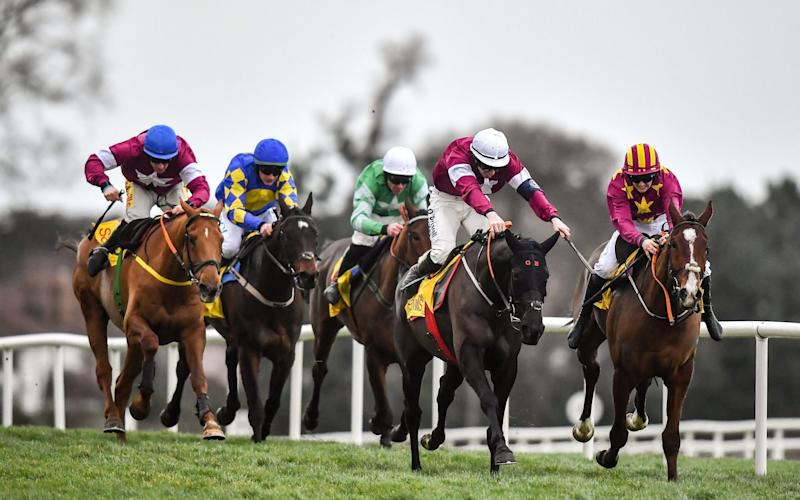 Delta Work (white cap) just got up ahead of Monalee - Sportsfile