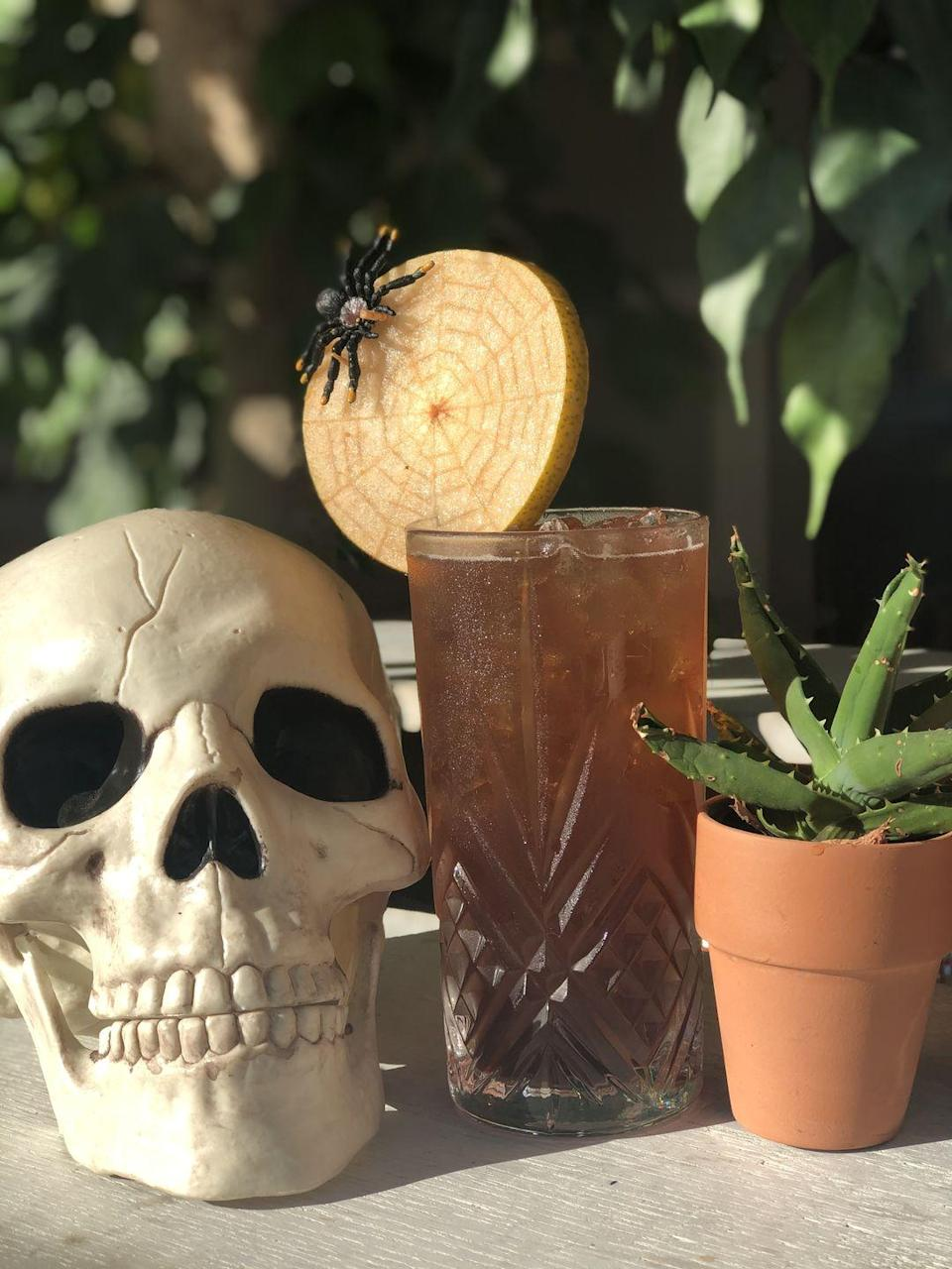 "<p><strong>Ingredients</strong></p><p>1 oz Dark Rum (such as El Dorado)<br>1 oz Cynar<br>.5 oz St. Elizabeth Allspice Dram<br>Ginger Beer to top</p><p><strong>Instructions</strong></p><p>Shake the spirits with ice. Pour the chilled spirits into a highball glass packed with ice and top with Ginger Beer. For garnish, carve spider web pattern into a slice of Asian pear and cover with bitters to emphasize pattern. </p><p><em>By Erin Scala of <a href=""https://www.commonhouse.com/"" rel=""nofollow noopener"" target=""_blank"" data-ylk=""slk:Common House"" class=""link rapid-noclick-resp"">Common House</a>.</em></p>"