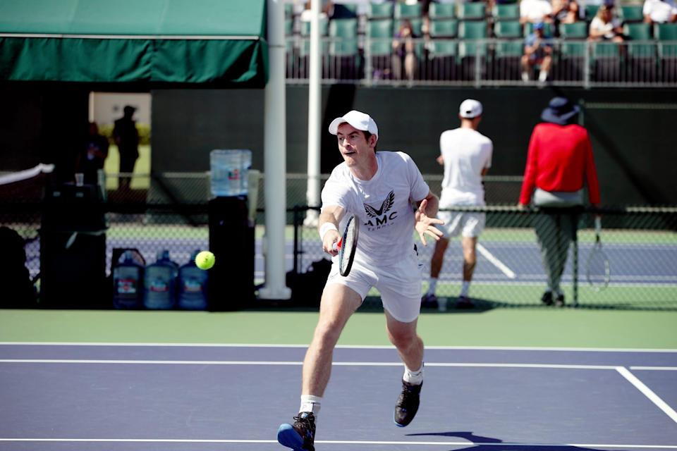 Andy Murray practices at the Indian Wells Tennis Garden during the BNP Paribas Open in Indian Wells, Calif., on October 5, 2021.