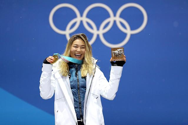 <p>Gold medalist Chloe Kim of the United States poses during the medal ceremony for the Snowboard Ladies' Halfpipe Final on day four of the PyeongChang 2018 Winter Olympic Games at Medal Plaza on February 13, 2018 in Pyeongchang-gun, South Korea. (Photo by Sean M. Haffey/Getty Images) </p>